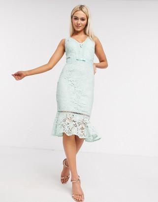Lipsy lace midi dress with pephem in mint