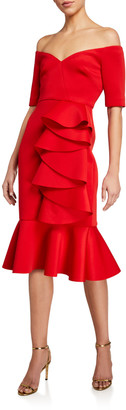 Badgley Mischka Off-the-Shoulder Flounce-Hem Draped Ruffle Dress