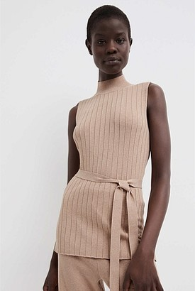 Witchery High Neck Belted Knit Tank