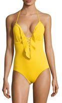 Shoshanna Ruffled Halterneck One-Piece Swimsuit