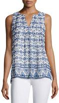 Joie Virginie Sleeveless Printed Shirt, White/Blue