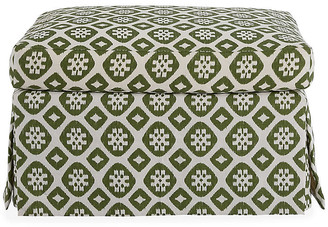 Mr & Mrs Howard Edwardian Ottoman - Hunter Green/Ivory Linen