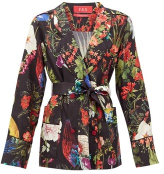 F.R.S For Restless Sleepers Geras Floral-print Silk-twill Jacket - Black Print