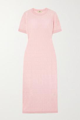 Fendi Cotton-blend Jacquard Midi Dress - Blush