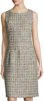 Oscar de la Renta Sleeveless Tweed Sheath Dress, Citrine