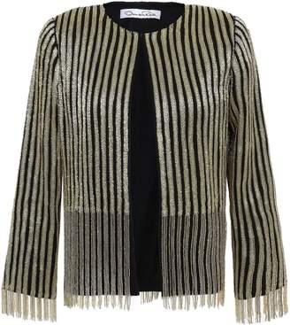 Oscar de la Renta Bead And Chain-embellished Silk-crepe Jacket