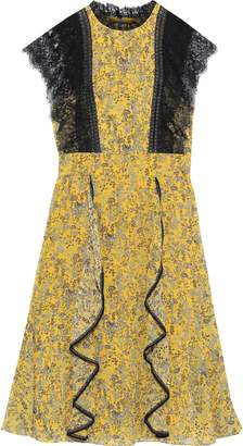 Mikael Aghal Lace-paneled Ruffled Floral-print Georgette Dress