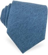 Forzieri Solid Sky Blue Cashmere Extra-Long Tie