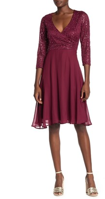 Marina Sequin Lace Chiffon Fit & Flare Dress