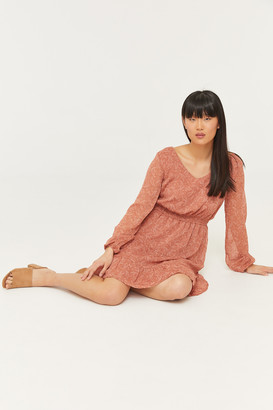Ardene Ruffled Mini Dress with Long Sleeves