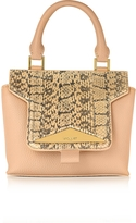 Vionnet Mosaic 20 Foie Gras Beige Ayers & Leather Mini Satchel Bag w/Shoulder Strap
