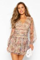 boohoo Petite Floral Dobby Mesh Long Sleeve dress