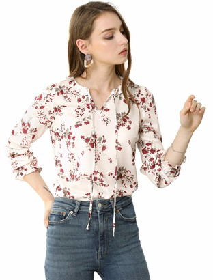 Allegra K Women's Ruffle Neck with Self Tie Long Sleeve Elegant Floral Blouse - Ivory - Large