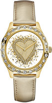 GUESS Women's Gold-Tone Leather Strap Watch 38mm U0909L2