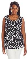 Rafaella Women's Plus Size Flowing Zebra Print Sleeveless Top with Novelty Hardware