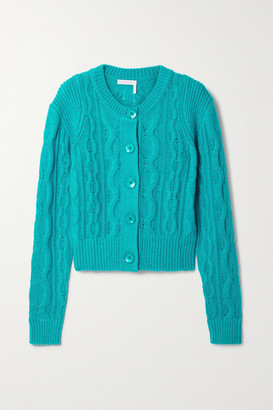 See by Chloe Cable-knit Wool-blend Cardigan - Turquoise
