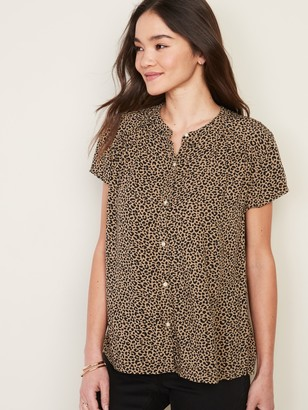 Old Navy Printed Banded-Collar Shirt for Women