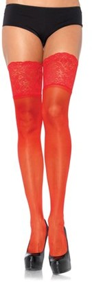 Leg Avenue Women's Sheer Thigh Highs with Silicone Lace Top, Red, One Size