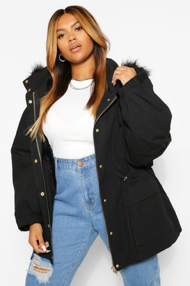 boohoo PLUS Faux Fur Lined Hooded Parka