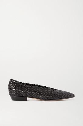 Bottega Veneta Intrecciato Leather Point-toe Flats - Black