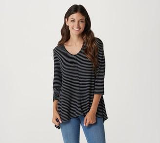 Denim & Co. Striped Heavenly Jersey 3/4-Sleeve Top