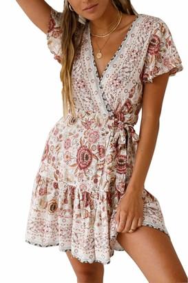 Ehpow Women V Neck Boho Floral Mini Dress Summer Short Sleeve Wrap Sash Beach DressOrange Large