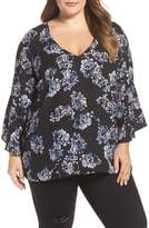 London Times Plus Size Women's Floral Print Bell Sleeve Top