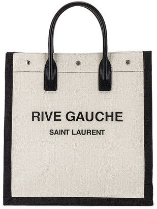 Saint Laurent Tote Bag in White & Black | FWRD