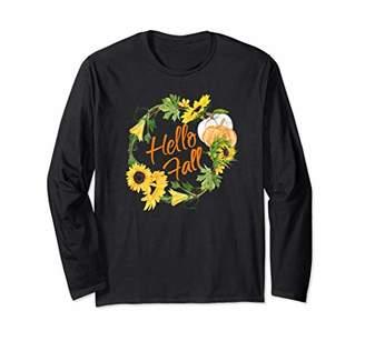 Hello Fall Pretty Sunflower Autumn Thanksgiving Wreath Women Long Sleeve T-Shirt