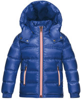 Moncler Gaston Web-Trim Quilted Down Coat, Bright Blue, Size 8-14