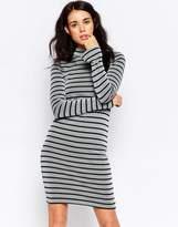 Ichi High Neck Striped Bodycon Dress