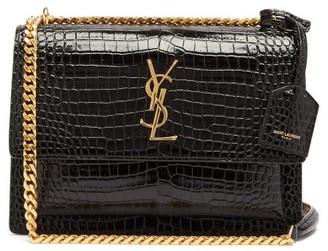 Saint Laurent Sunset Crocodile-embossed Leather Bag - Black
