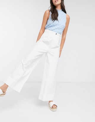 ASOS DESIGN white cropped pants with turn up in washed cotton