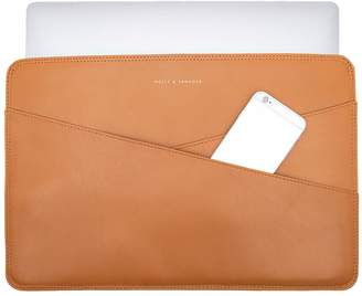 Holly & Tanager 15 Inch Leather Laptop Sleeve In Caramel