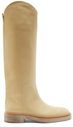 Jil Sander Slanted-cuff Leather Knee-high Boots - White
