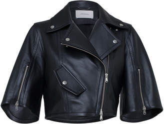 Schumacher Dorothee Modern Volumes Cropped Vegan Leather Jacket