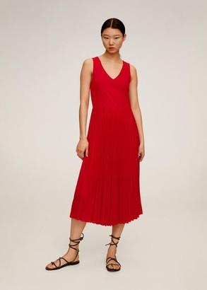 MANGO Pleated midi dress cherry - 2 - Women