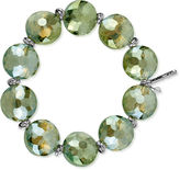 Kenneth Cole New York Bracelet, Silver and Green Crystal Bead Stretch Bracelet