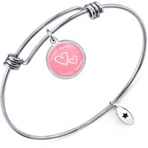"""Unwritten Mother Daughter Friends Forever"""" Adjustable Message Bangle Bracelet in Stainless Steel"""