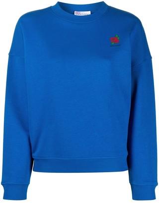 RED Valentino Rose-Print Logo Sweatshirt
