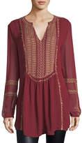 Tolani Lauren Long-Sleeve Embroidered Boho Blouse, Plus Size