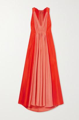Kalita Inana Two-tone Silk-habotai Maxi Dress - Bright orange