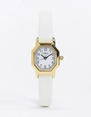 Limit octagonal faux leather watch in white