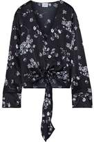 CAMI NYC The Lila Tie-front Floral-print Silk-charmeuse Blouse