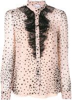 RED Valentino ruffle trim star print collarless shirt - women - Polyester - 38