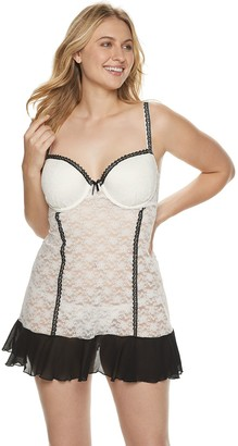Lunaire Plus Size Molded Cup Stretch Lace Baby Doll with Beaded Lace Trim