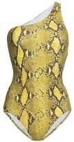 Melissa Odabash One-Shoulder Snake-Print Swimsuit