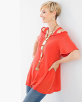 Chico's Smocked Off-the-Shoulder Top