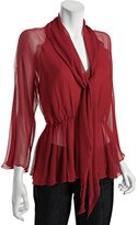 BCBGMAXAZRIA new red chiffon 'Monroe' pleated tie front blouse