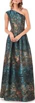 Kay Unger Cara Metallic Jacquard One-Shoulder Gown